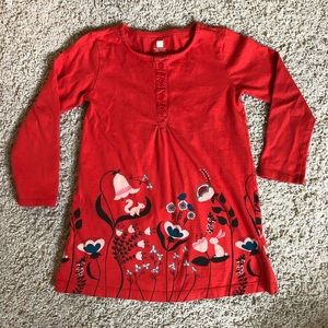 tea collection red dress with forest print